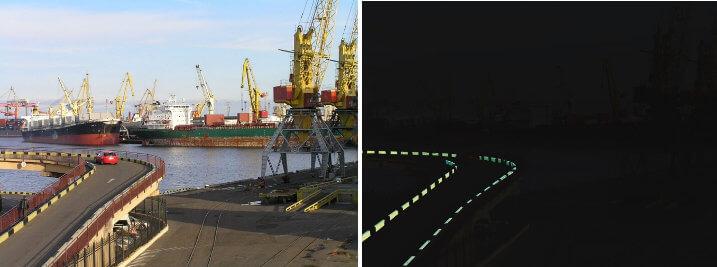 Светящаяся краска Acmelight в морском порту